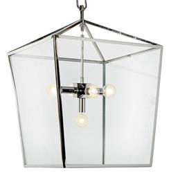 Barth Industrial Loft Nickel Glass  Pentagon Pendant Lantern | REG-55-8621