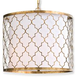 Fontaine Hollywood Regency Antique Gold Pattern Pendant Light
