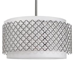 Moreau Hollywood Regency Glass Silver Pattern Pendant Light | REG-55-7264