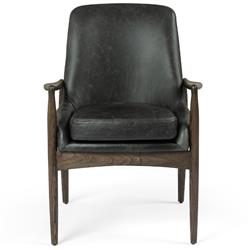 Olena Mid Century Modern Black Leather Sculpted Nettle Wood Dining Arm Chair
