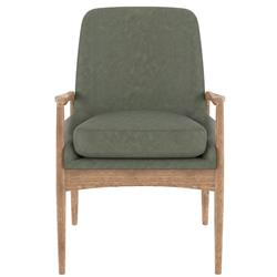 Olena Mid Century Modern Green Leather Sculpted Oak Wood Dining Arm Chair