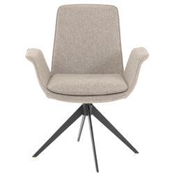 Latham Mid Century Modern Grey Upholstered Seat Black Iron Office Chair