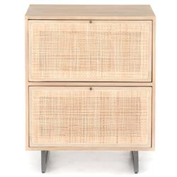 Emilie Coastal Beach Natural Woven Cane Brown Wood Filing Cabinet
