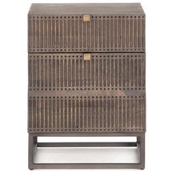 Shelby Global Bazaar Brown Wood Black Iron Base Filing Cabinet