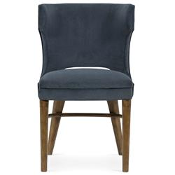 Liana Modern Blue Upholstered Seat Brown Wood Office Chair