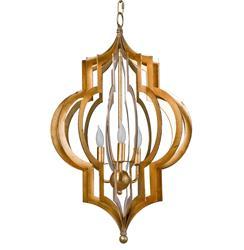 Scarlett Hollywood Regency Gold Leaf Pattern Pendant Chandelier - 16.75 Inch