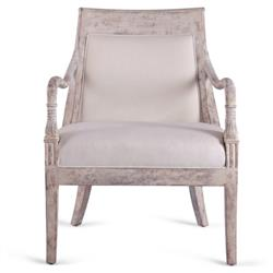 Daisy French Country Brown Linen Upholstered Aged Grey Wood Living Room Chair