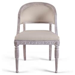Rosemonde French Country Grey Linen Upholstered Brown Wood Living Room Chair