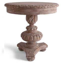 Marie French Country Aged Brown Wood Pedestal Table