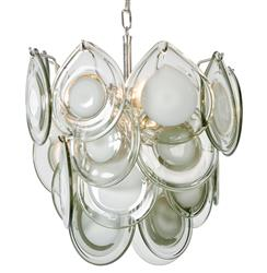 Ventura Coastal Beach Metal Grey Glass Mini Chandelier