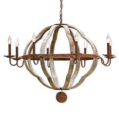 Regina Andrew Wooden Rustic Lodge Wood 8 Light Quatrefoil Chandelier