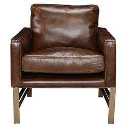 Danny Mid Century Modern Brown Leather Upholstered Iron Arm Chair