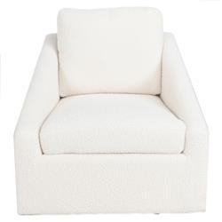 Lany Modern Classic White Upholstered Iron Swivel Occasional Chair