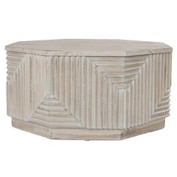 Sam Global Bazaar White Washed Mango Wood Octagonal Coffee Table