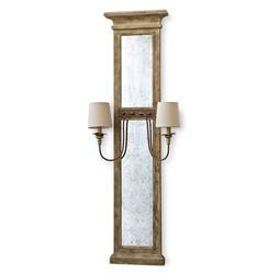 Vivant French Country Wood Antique Mirror with Sconces