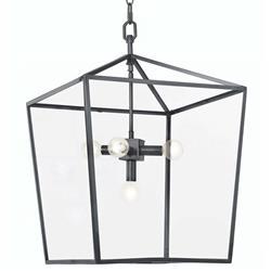 Regina Andrew Camden Industrial Loft Black Steel Clear Glass Lantern