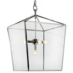 Regina Andrew Camden Industrial Loft Silver Steel Clear Glass Lantern