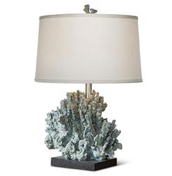 Andros Coastal Beach Blue Grey Coral Table Lamp