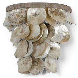 Palecek Playa Coastal Beach Natural Oyster Shells Sconce | Kathy Kuo Home