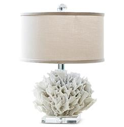 Regina Andrew Ribbon Coastal Beach White Ribbon Coral Crystal Table Lamp