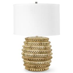 Palecek Kenis Coastal White Shade Brown Braided Rattan Table Lamp