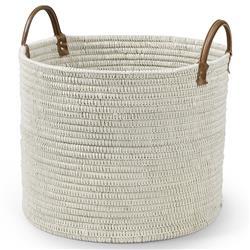 Palecek Cairo Coastal White Woven Cotton String Seagrass Floor Basket