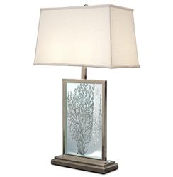 Tybee Coastal Beach Sea Fan Etched Glass Table Lamp  | REG-750-034