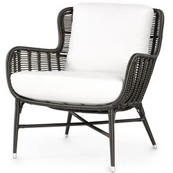 Palecek Palermo Coastal Black Woven Synthetic Wicker Aluminum Outdoor Lounge Chair