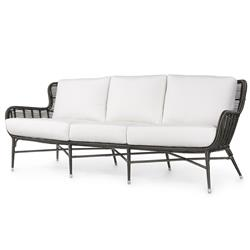Palecek Palermo Coastal Black Woven Synthetic Wicker Aluminum Outdoor Sofa