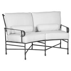 Castelle Bordeaux French White Sunbrella Grey Aluminum Crescent Outdoor Loveseat