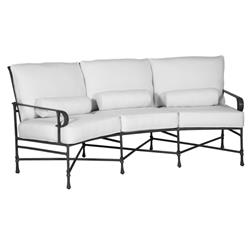 Castelle Bordeaux French White Sunbrella Cushion Grey Aluminum Crescent Outdoor Sofa