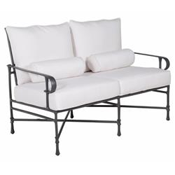 Castelle Bordeaux French White Sunbrella Grey Aluminum Outdoor Loveseat