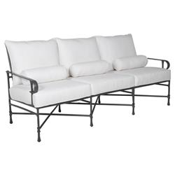 Castelle Bordeaux French Country White Sunbrella Cushion Grey Aluminum Outdoor Sofa
