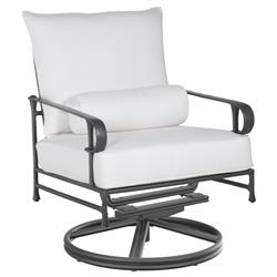 Castelle Bordeaux French White Sunbrella Cushion High Back Outdoor Swivel Rocker