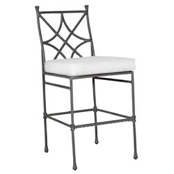 Castelle Bordeaux French White Sunbrella Grey Aluminum Armless Outdoor Bar Stool