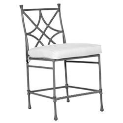Castelle Bordeaux French White Sunbrella Aluminum Armless Outdoor Counter Stool