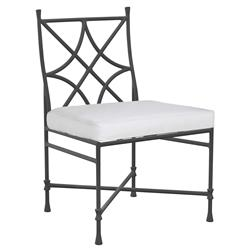 Castelle Bordeaux French White Sunbrella Grey Aluminum Outdoor Dining Side Chair