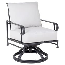 Castelle Bordeaux French White Sunbrella Cushion Aluminum Outdoor Dining Swivel Rocker