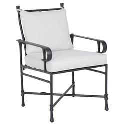 Castelle Bordeaux French White Sunbrella Aluminum Formal Outdoor Dining Arm Chair