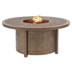 Castelle Classical Industrial Brown Aluminum Round Outdoor Firepit Coffee Table | Kathy Kuo Home