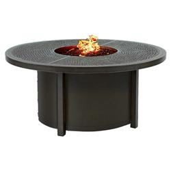 Castelle Altra Industrial Loft Black Aluminum Round Outdoor Firepit Coffee Table