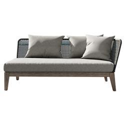 Modloft Netta Coastal Grey Regatta Rope Wood Outdoor Sofa - Right Facing Arm