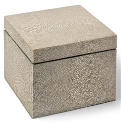 Destin Coastal Beach Ivory Grey Faux Shagreen Square Box