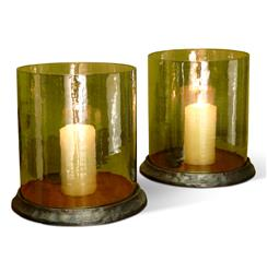 Pair Oak Valley Amber Glass Rustic Hurricane Candle Holders
