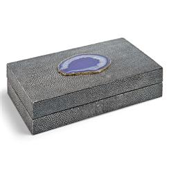 Destin Coastal Beach Charcoal Faux Shagreen Purple Agate Rectangle Box - 9 Inch