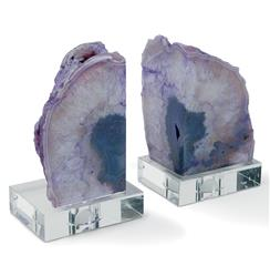 Imperial Coastal Beach Purple Geode Crystal Bookends