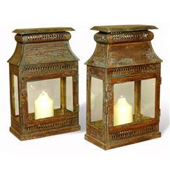 Pair Asmara Antique Verdi Rustic Iron and Glass Candle Lanterns