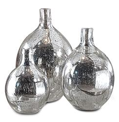 Whitney Hollywood Regency Mercury Glass Sphere Wine Bottles - Set of 3 | Kathy Kuo Home