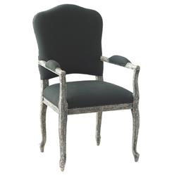Perret French Country Slate Distressed Grey Dining Arm Chair