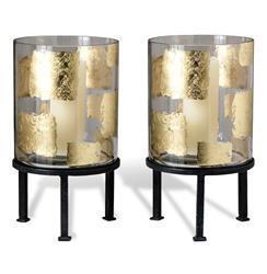 Pair Modern Gold Leaf Large Floor Hurricane Candle Holders